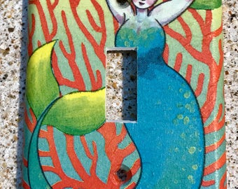 Coral Mermaid Light Switch Cover