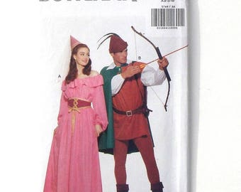 Butterick Adult Costumes Sewing Pattern #5749 - UNCUT - Sizes XS+Small+Med - Robin Hood & Maid Marian