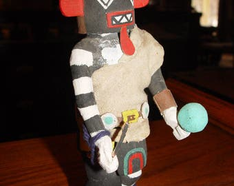 Hopi Kachina doll, Un-signed ~ authentic hand carved and painted 'Warrior'  ~ 70's or 80's