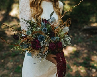 dried flower bouquet, jewel tone bouquet, marsala bouquet, woodland bouquet, berry tone bouquet,dark red and navy bouquet, rustic bouquet