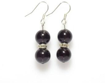 black earrings, black and silver earrings, black agate earrings, gemstone earrings, bridesmaid earrings, drop earrings, dangle earrings
