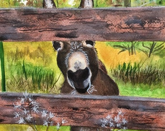 Donkey  Art Print, Watercolor Donkey Print, Burro, Burro Wall Art, Southwestern Art Decor Gift Farm Animals Print