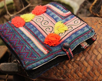 Handmade Vintage Red Dzao Embroidered Wallet Purse Hill Tribe