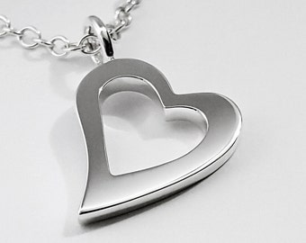 Sterling Silver Heart Necklace Pendant - Open Heart Necklace, Sterling Silver Heart Pendant, Sterling Heart Necklace, Open Heart Pendant