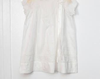 6-12 months: Heirloom white baby gown, Inset Lace and Embroidery, with Ribbon Trim, White Batiste Cotton
