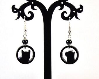 Black cats epoxy resin earrings  - Cat earrings - Black cats round earrings - Epoxy resin - Dangle earrings