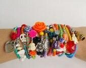 friendship bracelet - Boho Chic Bracelets - tassel - buddah - stretch bracelets - layering jewelry - bohemian bracelets - unique jewelry
