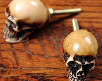 Skull Knob - Skull Decor - Skull Dresser Knob - Painted Skull - Rustic Skull Knob - Rustic Knob - Aged Knob - Drawers - Dressers - Cabinets