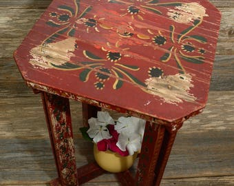 PRIMITIVE PAINTED TABLE: A Very Old Handcrafted, Handpainted, Wood, Red Table or Stool