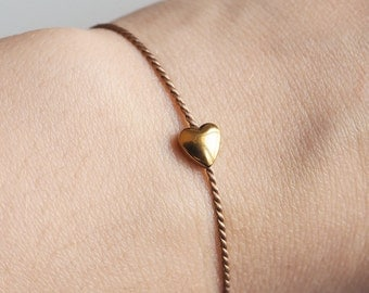 Heart bracelet gold from delicate silk to the Valentine's Day - heart Hematite gold silk with color of your choice