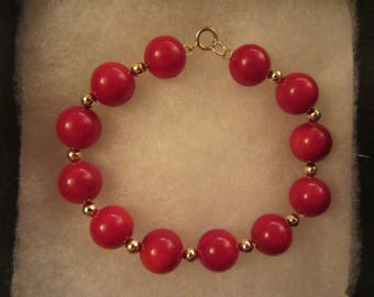 "14k Gold Red AA Sardinian Coral Bead Bracelet - 7 1/4""x 12mm - 20.67g"