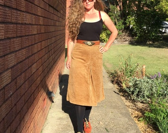 Perfect Winter 70's Corduroy Midi Skirt, Pleats, Camel Colour, Boho, Hippie, Size XS Extra Small