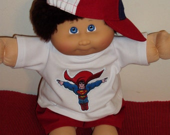 Cabbage Patch Doll Clothes HAND MADE 3 pc SUPERMAN shorts set for boys