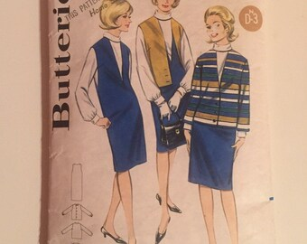 Butterick 3183 1960s Sewing Pattern / Dress, Jacket and Blouse / Size 10 Bust 31""
