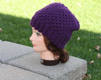 Ready to ship Cochet Hat,Purple Crochet hat,Textured Beanie,Crochet slouch Hat,Womens Slouch Beanie,Textured Slouchy,Winter Hat,Thick Hat