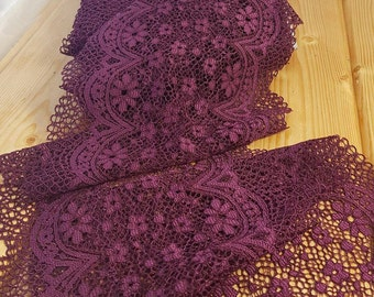 Burgundypurple 21 cm wide Crochet Look Stretch lace by the meter