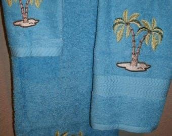Palm Trees Ocean Nautical 3 piece Personalized Bath, Hand, Washcloth Towel Set