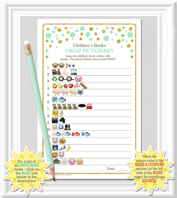 children 39 s books emoji pictionary game baby shower game with mint