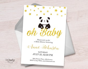 Printable Personalized Panda Baby Shower Invitation (stars). Baby Shower  Invitation. PDF Boy