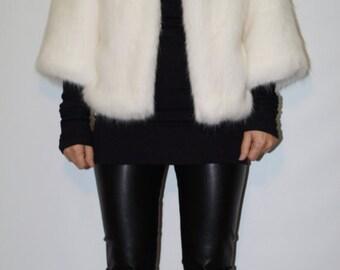 Faux Fur Coar/Fur Jacket/ Winter Wedding Coat/White Coat/Faux Fur Bolero/ White Jacket/ F1388