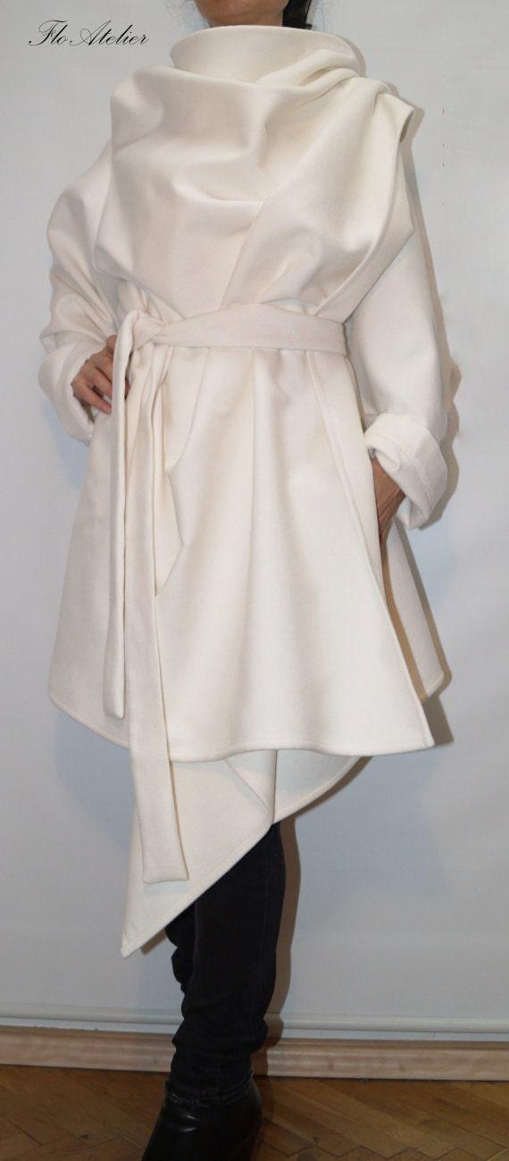 White High Collar Coat/Winter Coat/ Wool Cashmere Blend