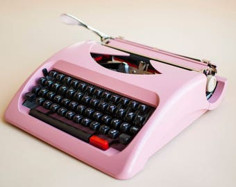 Pink Vintage typewriter, blush pink girls room decor, Olympia traveller c, Bridal gift  portable manual typewriter Fully working