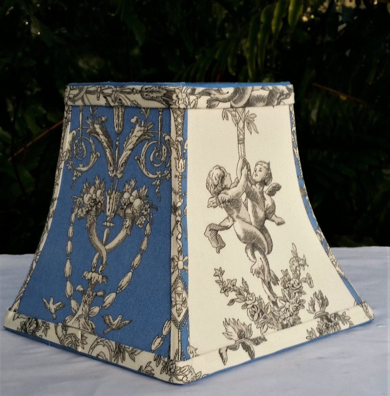 Lampshade Blue, Chandelier, Cherubs, Square Bell, Blue Off-White ...