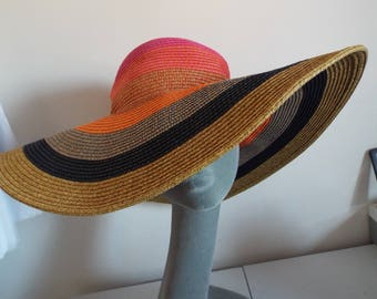 VINTAGE 1960's Ladies Straw Hat Floppy Hippy Striped Gold Pink Peach REd Black Grey Stripe Hippy Wide Brimmed Hat