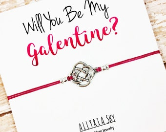 "Friendship Bracelet with ""Will You Be My Galentine"" Card 