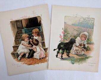 Two Victorian chromolithographs, Young Children & Puppies, Harriett M. Bennett