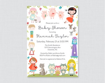 nursery rhyme themed baby shower printable or printed invitation nursery rhyme baby shower invites