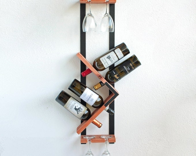 Wall Mounted Wine Rack - Wine Glass Holder - Wedding Gift - Wine Rack - Wood Wall Art- Organizer - Housewarming Gift