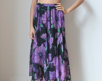 FLORAL SKIRT -grunge, romantic, gothic, hippie, boho, casual, long, maxi, black, purple, 90s, transparent, 80s, festivals, club kid-