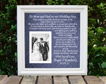Wedding Gift Parents, Parents of Bride and Groom, Thank You Mom and Dad Gift, Wedding Thank You Gift Personalized, In-Law Wedding Gift,15x15
