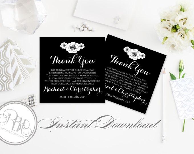 Black & White Wedding Thank You Template INSTANT DOWNLOAD-DIY Editable Text-Pdf File- Black White Anemone Flower-Delta