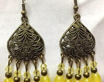 yellow chandelier earrings,yellow crystal chandelier earrings,yellow bronze chandelier,yellow crystal bronze chandelier earrings