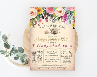 A Baby Is Brewing Invitation. Floral Baby Shower Tea Party Invitation.  Garden Tea Party