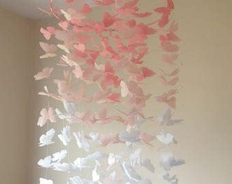 Chandelier Butterfly Mobile - Blush Pink Chandelier Butterfly Mobile - Butterfly Mobile - Baby Mobile - Crib Mobile - Nursery Mobile - Gift