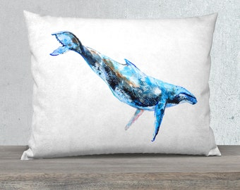 humpback whale pillow, watercolour throw pillow, nautical decor, cushion cover, whale pillow case, gift for her, blue pillowcase, ocean gift