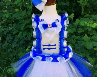 Star wars/R2D2 tutu dress and hair bow SET/White orange tutu dress