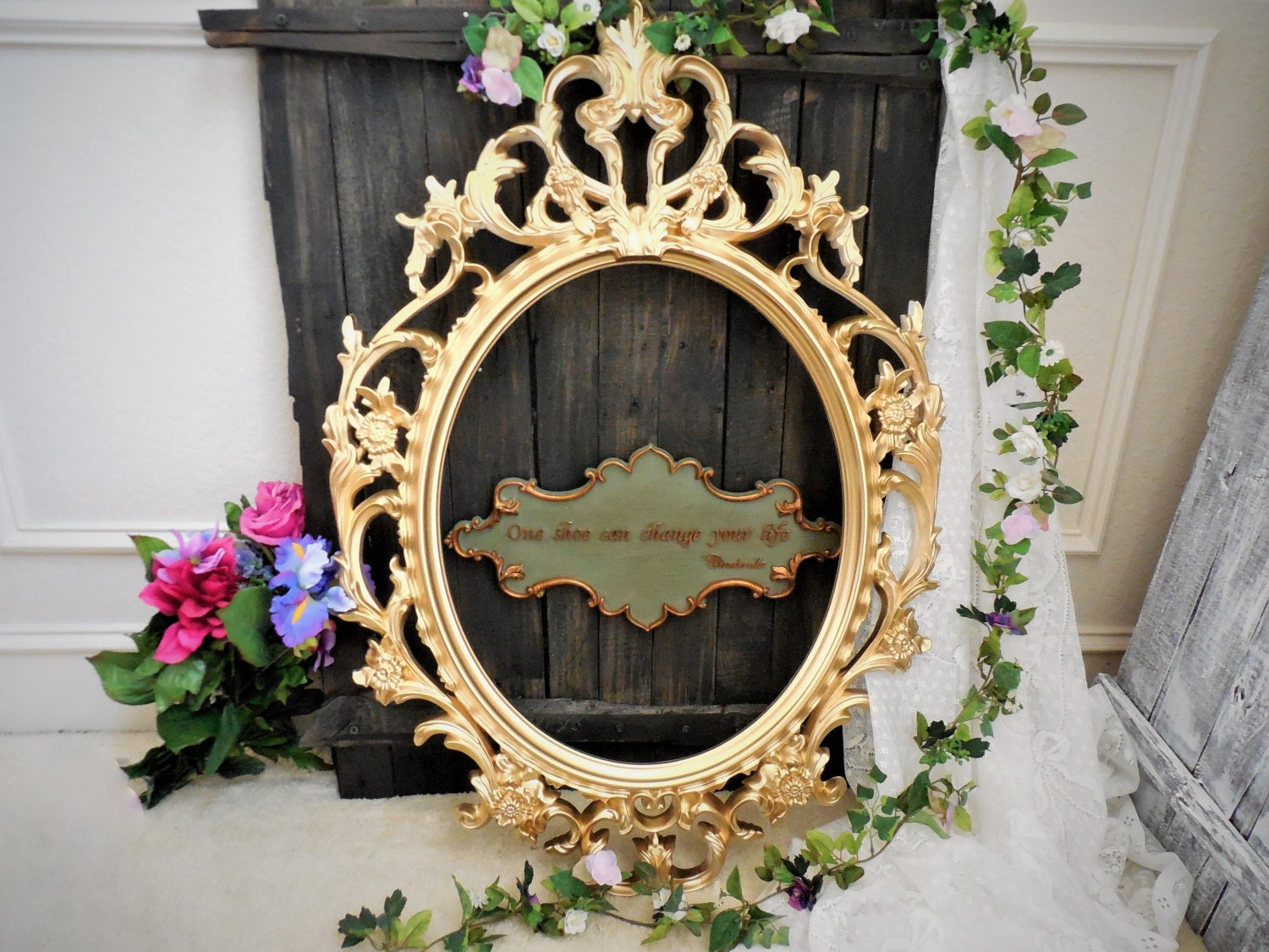 Baroque oval mirror or frame large picture frame open for Baroque mirror canada