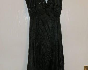 Vintage Halter Neck Black Crinkle Pure Silk Knee Length Dress UK Size 10/12 / US Size 6/8