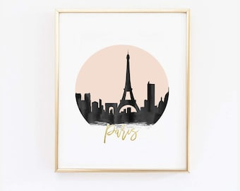 Paris Print - Paris Skyline - - Black and Pink - Faux Gold Foil - Art Poster - Skyline Prints - Skyline Watercolor - Custom Color Print