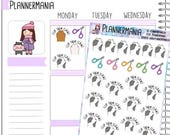 Hand Drawn Planner Stickers, Cat Claw Sticker, Pet Care Stickers, Claw Trimming Reminder - 425