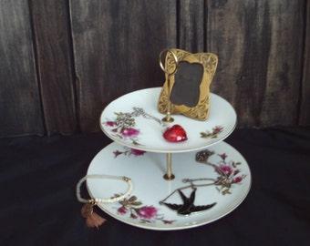 ENESCO 2 Tier Dessert Tray Plate Boho Decor Jewelry Tray Shabby Farmhouse Roses