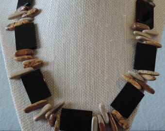 Black Onyx Necklace,  Black Necklace, Picture Jasper Necklace, Black and Tan Necklace,