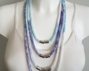 Knit necklace, multi strand necklace, spring necklace