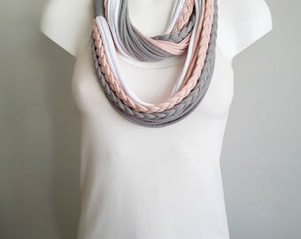T shirt scarf, t shirt infinity scarf, loop scarf, fabric scarf, cotton fabric scarf