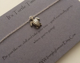 Turtle Necklace, Silver Turtle Necklace, Sea Turtle Necklace, Birthday Gift,Mothers Day Gift