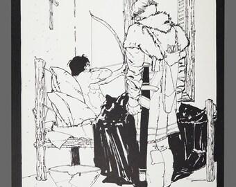 1978 Howard Chaykin Print Robin Hood Limited Edition 856/1000 Black & White Art 15 x 11